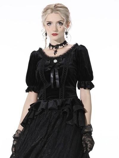 Dark in Love Black Vintage Gothic Cute Velvet Short Sleeves Top for Women