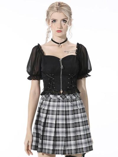 Dark in Love Black Fashion Gothic Grunge Daily Wear Short Top for Women