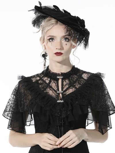 Dark in Love Black Retro Gothic Short Lace Cape for Women