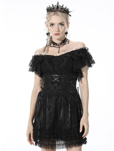 Dark in Love Black Gothic Lace Embroidery Underbust Corset