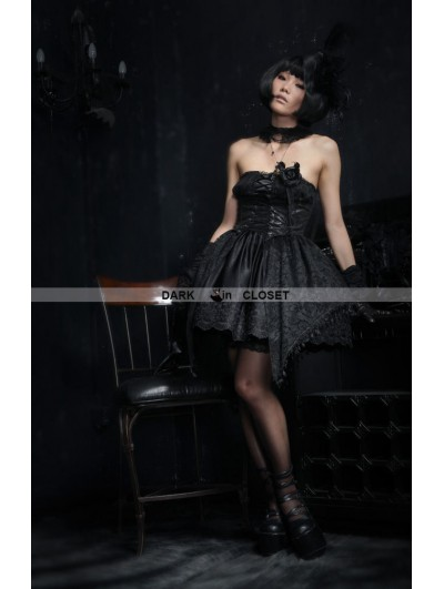 Punk Rave Fashion Strapless Black Short Gothic Dress