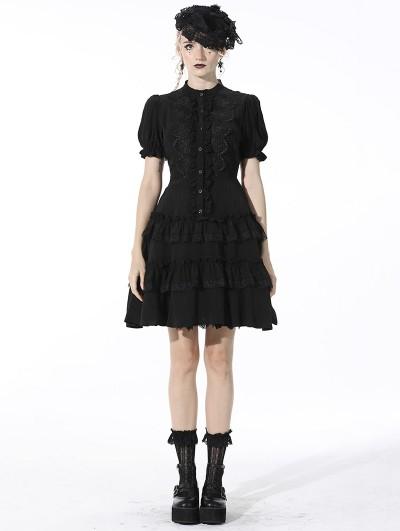 Dark in Love Black Gothic Daily Wear Layered Short Shirt Dress