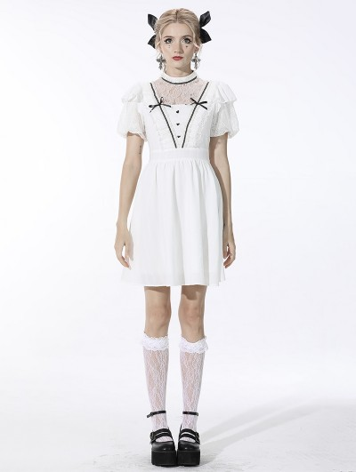 Dark in Love White Cute Gothic Soulless Princess Short Sleeve Dress