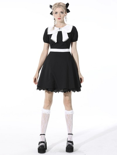 Dark in Love Black and White Cute Gothic Bow Daily Wear Short Dress