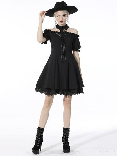 Dark in Love Black Gothic Off-the-Shoulder Daily Wear Short Dress