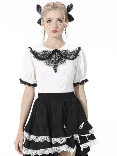 Dark in Love White and Black Lace Sweet Gothic Short Top for Women
