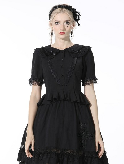 Dark in Love Black Gothic Lolita Short Sleeve Chiffon Blouse for Women