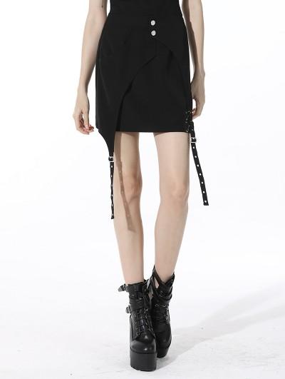 Dark in Love Black Gothic Punk Asymmetrical Daily Wear Mini Skirt
