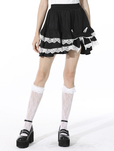 Dark in Love Black and White Cute Gothic Lolita Bow Mini Skirt