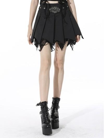 Dark in Love Black Gothic Punk Skull Irregular Pleated Mini Skirt
