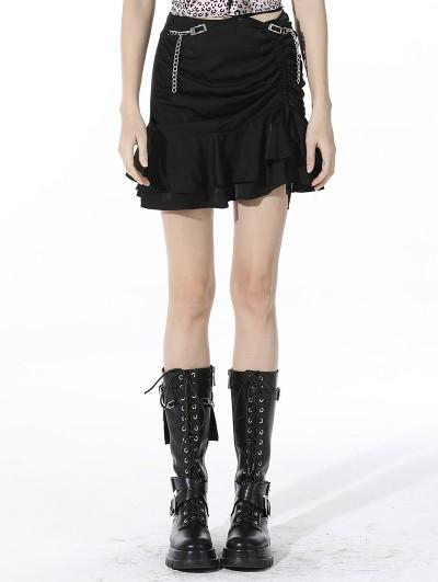 Dark in Love Black Sexy Gothic Grunge Daily Wear Asymmetrical Mini Skirt