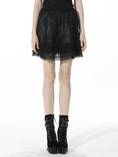 Dark in Love Black Sweet Gothic Lolita Lace Short Skirt