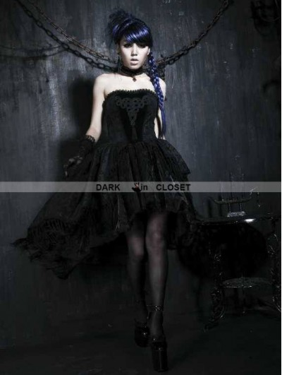 Punk Rave Black Floral Pattern Tassel High-Low Gothic Dress
