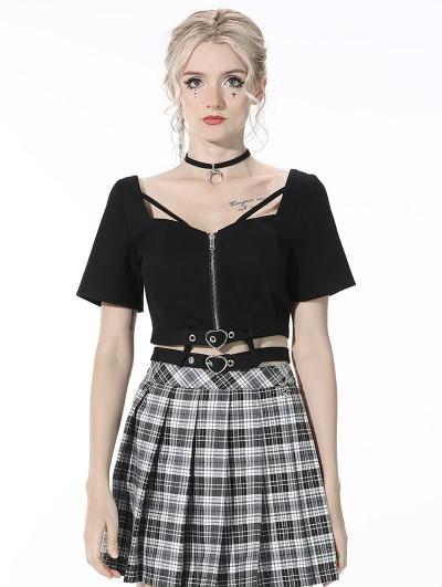 Dark in Love Black Gothic Grunge Daily Wear Short Top for Women