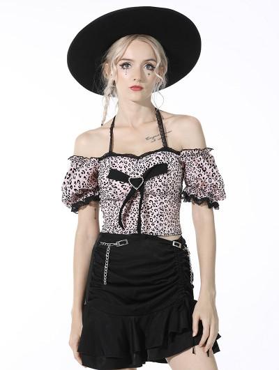 Dark in Love Pink Leopard Gothic Grunge Off-the-Shoulder Knot Short Top for Women