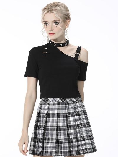 Dark in Love Black Gothic Punk Grunge Asymmetrical Short Sleeve T-Shirt for Women