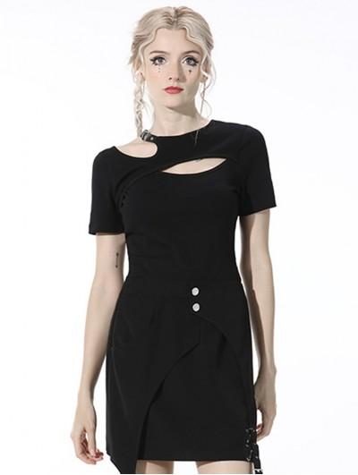Dark in Love Black Gothic Grunge Daily Wear Short Sleeve T-Shirt for Women