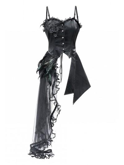 Pentagramme Black Gothic Asymmetric Lace Corse Dress Top For Women