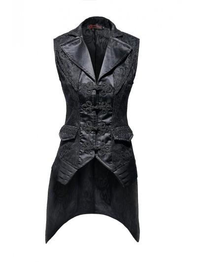 Pentagramme Black Vintage Gothic Lace Waistcoat For Women