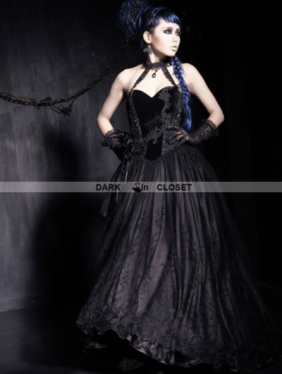 Punk Rave Black Strapless Gothic Corset High-Low Dress