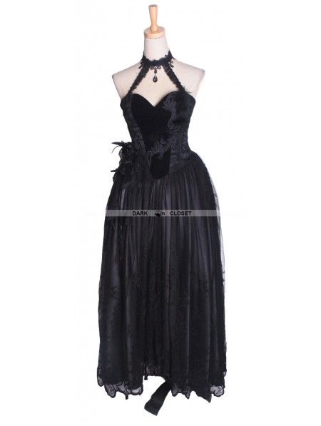 Punk Rave Black Strapless Gothic Corset High Low Dress