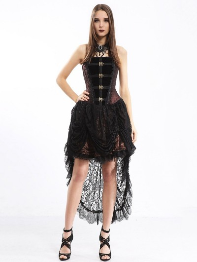 Pentagramme Black and Coffee Gothic Steampunk Lace Irregular Corset Dress