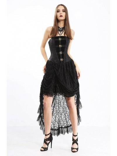 Pentagramme Black Gothic Steampunk Lace Irregular Corset Dress