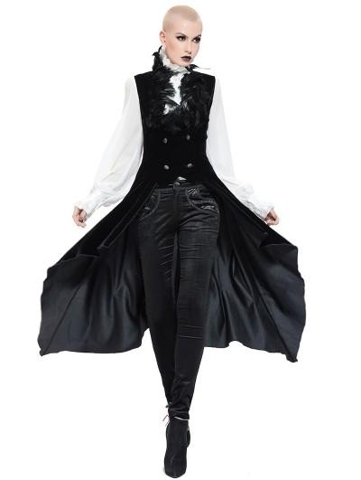 Pentagramme Black Gothic Long Feather Vest For Women