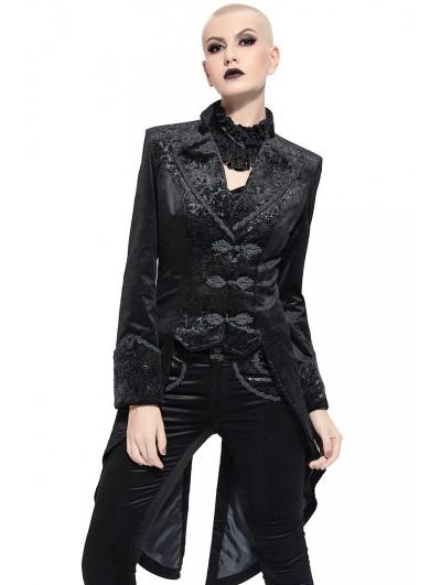 Pentagramme Black Retro Gothic Velvet Party Tailcoat Jacket For Women