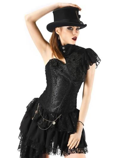 Pentagramme Black Lace Burlesque Corset Top For Women