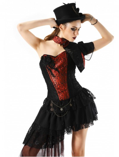 Pentagramme Red and Black Lace Burlesque Corset Top For Women