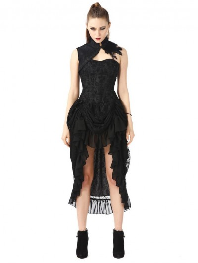 Pentagramme Black Vintage Gothic High-low Party Dress with Collar