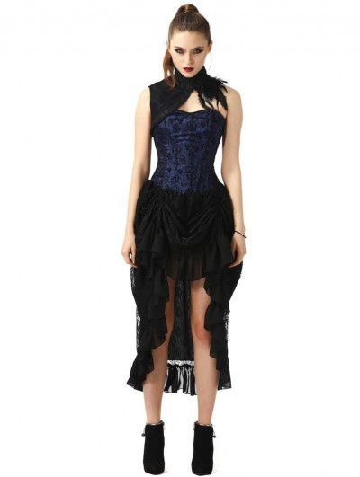Pentagramme Blue Vintage Gothic High-low Party Dress with Collar