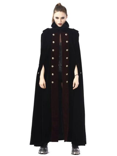Pentagramme Black And Red Vintage Gothic Velvet Long Cape For Women