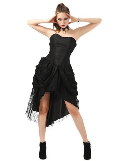 Pentagramme Black Gothic Lace Asymmetric Corset Dress For Women