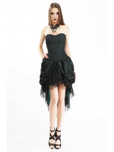 Pentagramme Green Gothic Lace Asymmetric Corset Dress For Women