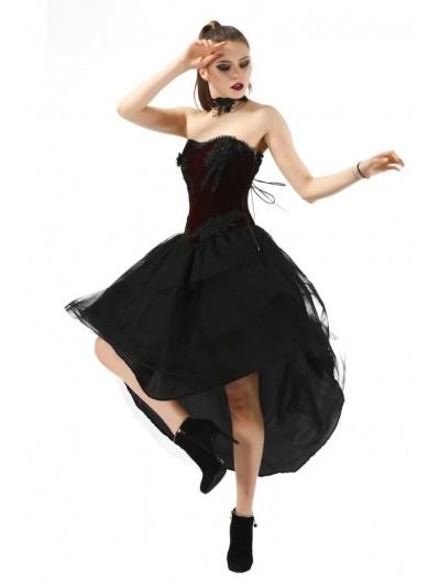 Pentagramme Dark Red and Black Gothic Velvet High-Low Corset Dress For Women