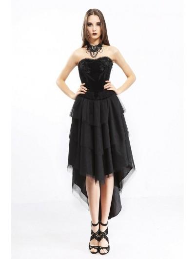 Pentagramme Black Gothic Velvet High-Low Corset Dress For Women