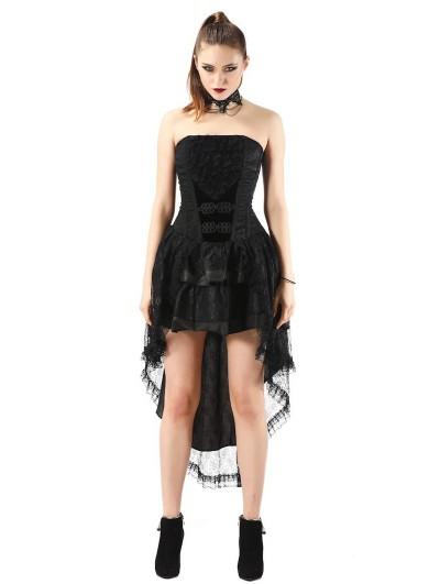 Pentagramme Black Vintage Gothic Irregular Corset Dress For Women