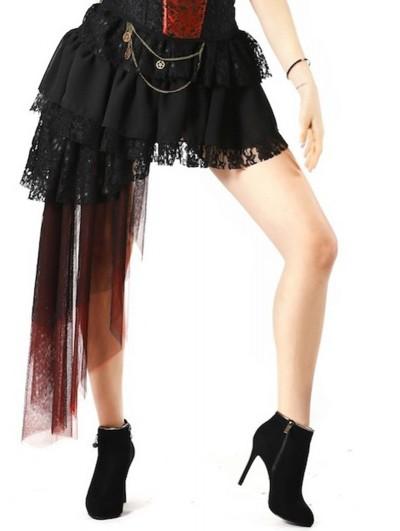 Pentagramme Black and Red Gothic Irregular Skirt For Women