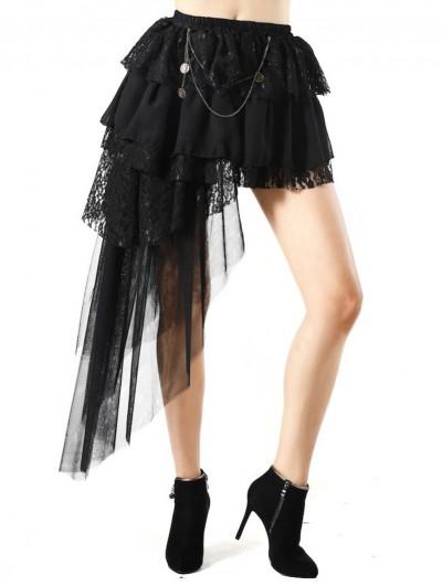 Pentagramme Black Gothic Irregular Skirt For Women