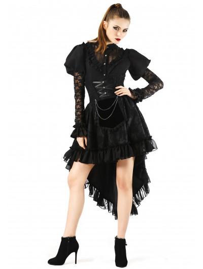 Pentagramme Black Gothic Lace High Waist Short Skirt For Women