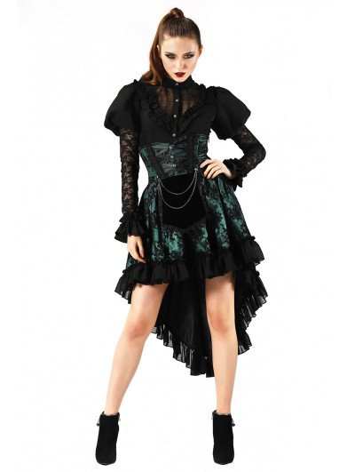 Pentagramme Green Gothic Lace High Waist Short Skirt For Women