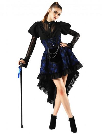 Pentagramme Blue Gothic Lace Waist Short Skirt For Women