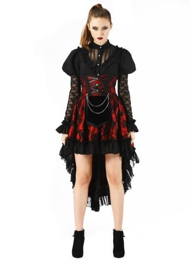 Pentagramme Red Gothic Lace Waist Short Skirt For Women