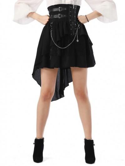 Pentagramme Black Steampunk High Waist Irregular Tailed Skirt For Women