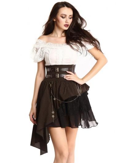 Pentagramme Coffee Striped Steampunk High Waist Irregular Tailed Skirt For Women