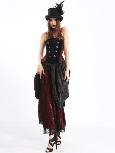 Pentagramme Brown Women's Long Strapless Gothic Victorian Bustier Dress