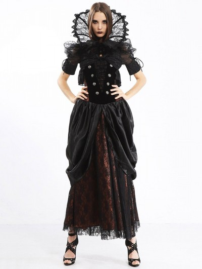 Pentagramme Red Women's Long Strapless Gothic Victorian Bustier Dress