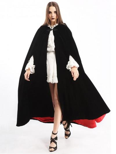 Pentagramme Black and Red Long Gothic Velvet Hooded Long Cape For Women
